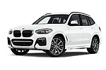Stock pictures of low aggressive front three quarter view of 2018 BMW X3 M-Sport 5 Door SUV Low Aggressive