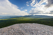 Franconia Notch State Park - Scenic view from the summit of Mount Pemigewasset in Lincoln, New Hampshire USA during the summer months