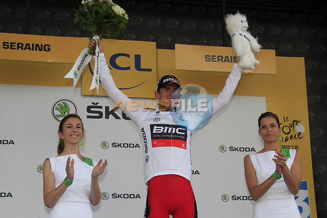 Tejay Van Garderen (USA) BMC Racing Team retains the young riders White Jersey at the end of Stage 1 of the 99th edition of the Tour de France, running 198km from Liege to Seraing, Belgium. 1st July 2012.<br /> (Photo by Eoin Clarke/NEWSFILE)