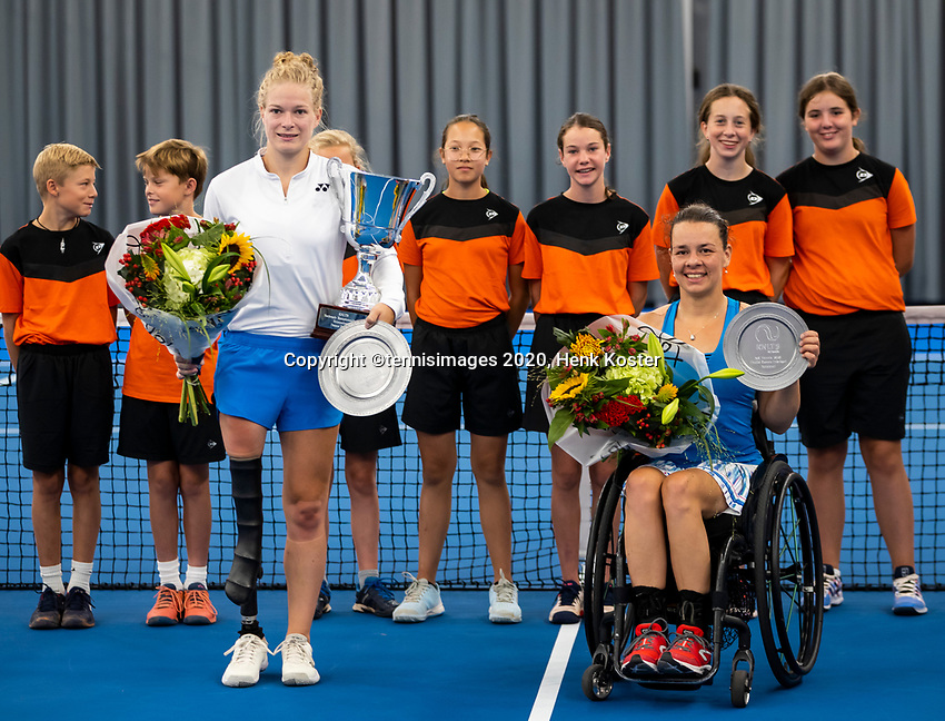 Amstelveen, Netherlands, 22 Augustus, 2020, National Tennis Center, NTC, NKR, National  Wheelchair Tennis Championships, Womans single final : Winner Dide de Groot (NED) (L)  and runner up Marjolein Buis (NED) with the trophy<br /> Photo: Henk Koster/tennisimages.com