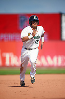 Cedar Rapids Kernels third baseman Chris Ibarra (15) running the bases during a game against the Dayton Dragons on July 24, 2016 at Perfect Game Field in Cedar Rapids, Iowa.  Cedar Rapids defeated Dayton 10-6.  (Mike Janes/Four Seam Images)