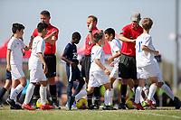 Dallas, TX - October 2019: U.S. Soccer Development Academy Boys' Fall Central Region Showcase Referee's group at MoneyGram Soccer Park.