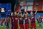 FC Barcelona's Marc Bartra, Ivan Rakitic, Jordi Alba, Andres Iniesta and Sergio Busquets celebrate the victory in the Spanish Kings Cup Final match. May 22,2016. (ALTERPHOTOS/Acero)