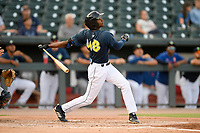 Center fielder Hansel Moreno (48) of the Columbia Fireflies bats in a game against the Rome Braves on Tuesday, June 4, 2019, at Segra Park in Columbia, South Carolina. Columbia won, 3-2. (Tom Priddy/Four Seam Images)