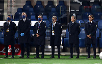 Italy's head coach Roberto Mancini, right, and his staff sing the national anthem prior to the start of the UEFA Nations League football match between Italy and Netherlands at Bergamo's Atleti Azzurri d'Italia stadium, October 14, 2020.<br /> UPDATE IMAGES PRESS/Isabella Bonotto