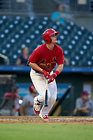 Palm Beach Cardinals Nolan Gorman (18) bats during a Florida State League game against the Clearwater Threshers on August 10, 2019 at Roger Dean Chevrolet Stadium in Jupiter, Florida.  Clearwater defeated Palm Beach 11-4.  (Mike Janes/Four Seam Images)