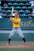 David Greer (28) of the Arizona State Sun Devils bats against the Long Beach State Dirtbags at Blair Field on February 27, 2016 in Long Beach, California. Long Beach State defeated Arizona State, 5-2. (Larry Goren/Four Seam Images)