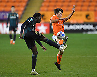 Blackpool's Manager Rob Apter battles for the ball<br /> <br /> Photographer Dave Howarth/CameraSport<br /> <br /> EFL Trophy - Northern Section - Group G - Blackpool v Leeds United U21 - Wednesday 11th November 2020 - Bloomfield Road - Blackpool<br />  <br /> World Copyright © 2020 CameraSport. All rights reserved. 43 Linden Ave. Countesthorpe. Leicester. England. LE8 5PG - Tel: +44 (0) 116 277 4147 - admin@camerasport.com - www.camerasport.com