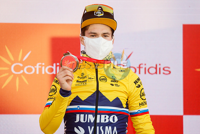 Slovenian Champion Primoz Roglic (SLO) Team Jumbo-Visma wins Stage 8 of the Vuelta Espana 2020 running 160km from Logroño to Alto de Moncalvillo, Spain. 28th October 2020.   <br /> Picture: Luis Angel Gomez/PhotoSportGomez | Cyclefile<br /> <br /> All photos usage must carry mandatory copyright credit (© Cyclefile | Luis Angel Gomez/PhotoSportGomez)