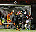 Hamilton's stand in keeper Blair Currie saves from Morton's David McNeil