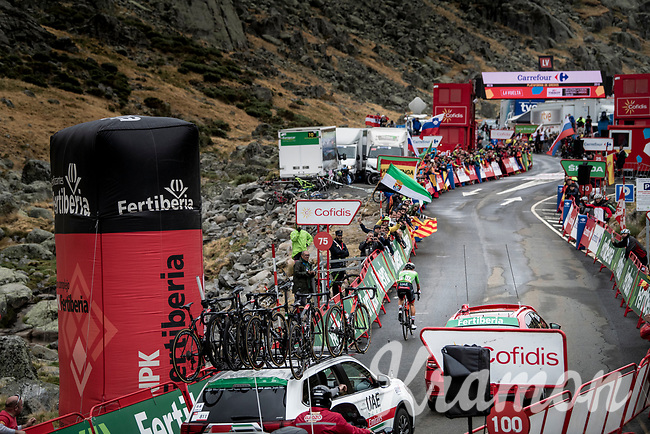 stage winner (for the 3rd time in this Vuelta) Tadej Pogačar (SVN/UAE-Emirates) arriving solo at the finish<br /> <br /> Stage 20: Arenas de San Pedro to Plataforma de Gredos (190km)<br /> La Vuelta 2019<br /> <br /> ©kramon