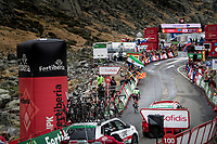 stage winner (for the 3rd time in this Vuelta) Tadej Pogačar (SVN/UAE-Emirates) arriving solo at the finish<br />