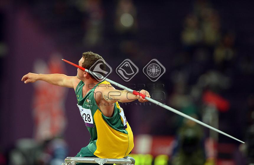 Damien Bowen (AUS)<br /> Athletics: Men's Javelin F33/34<br /> Olympic Stadium (Saturday 1  Sept)<br /> Paralympics - Summer / London 2012<br /> London England 29 Aug - 9 Sept <br /> © Sport the library / Jeff Crow