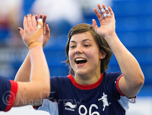 06 APR 2012 - LONDON, GBR - Marie Gerbron (GBR) celebrates her sides practice match victory during a Great Britain women's training session at the National Sports Centre in Crystal Palace, Great Britain (PHOTO (C) 2012 NIGEL FARROW)