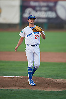 Ogden Raptors starting pitcher Orlandy Navarro (23) waits to receive the ball back from the catcher during a game against the Billings Mustangs at Lindquist Field on August 18, 2018 in Ogden, Utah. Billings defeated Ogden 6-4. (Stephen Smith/Four Seam Images)