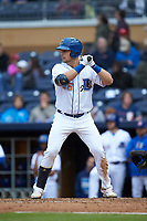 Nate Lowe (36) of the Durham Bulls at bat against the Gwinnett Braves at Durham Bulls Athletic Park on April 20, 2019 in Durham, North Carolina. The Bulls defeated the Braves 11-3 in game one of a double-header. (Brian Westerholt/Four Seam Images)