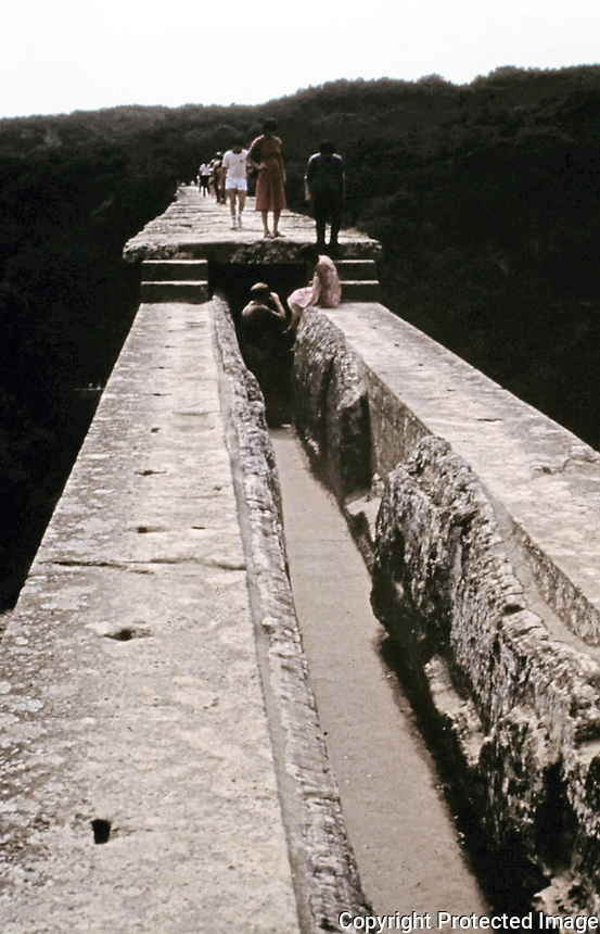 View of top of the Pont du Gard aqueduct, Vers-Pont-du-Gard, Early 1st Century AD