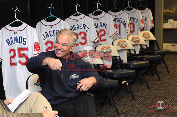 New Boston Red Sox manager Bobby Valentine talks with reporters on January 23, 2012, in the clubhouse at Fluor Field at the West End in Greenville, South Carolina. Valentine was in town to speak at the annual Greenville Drive Hot Stove Event.