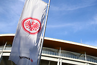 16th May 2020, Commerzbank-Arena, Frankfurt, Germany; Bundesliga football, Eintracht Frankfurt versus Borussia Moenchangladbach;  An Eintracht Frankfurt flag behind the Commerzbank Arena at the ghost game