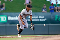 Third baseman Dustin Harris (9) of the Hickory Crawdads lunges for a throw from the outfield in a game against the Greenville Drive on Friday, August 27, 2021, at Fluor Field at the West End in Greenville, South Carolina. (Tom Priddy/Four Seam Images)