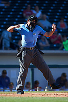 Home plate umpire Ryan Additon calls a Desert Dogs batter out on strikes during an Arizona Fall League game between the Mesa Solar Sox and the Glendale Desert Dogs on October 28, 2017 at Sloan Park in Mesa, Arizona. The Solar Sox defeated the Desert Dogs 9-6. (Zachary Lucy/Four Seam Images)