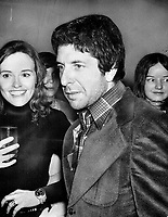 Poet Leonard Cohen, bewildered but surrounded by girls at a party for himself and Irving Layton, thrown by publishers McClelland and Stewart at the Fire Hall Restaurant. Cohen was surprised to find 300 guests at what he expected to be a private party. When he slipped away one girl summed it up: He's lost to us.<br /> <br /> Darrell, Dick<br /> Picture, 1973<br /> <br /> <br /> Toronto Star Archives - AQP
