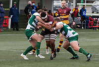 Devante Onojaife of Ampthill RUFC during the Greene King IPA Championship match between Ealing Trailfinders and Ampthill RUFC being played behind closed doors due to the COVID-19 pandemic restrictions at Castle Bar , West Ealing , England  on 13 March 2021. Photo by Alan Stanford / PRiME Media Images