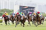 Jockeys riding their horses during Hong Kong Racing at Sha Tin Racecourse on November 04, 2018 in Hong Kong, Hong Kong. Photo by Yu Chun Christopher Wong / Power Sport Images