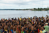 "Altamira, Brazil. ""Xingu Vivo Para Sempre"" protest meeting about the proposed Belo Monte hydroeletric dam and other dams on the Xingu river and its tributaries. Indians against the dams."