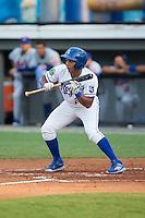 Jose Sanchez (2) of the Burlington Royals squares to bunt against the Kingsport Mets at Burlington Athletic Stadium on July 18, 2016 in Burlington, North Carolina.  The Royals defeated the Mets 8-2.  (Brian Westerholt/Four Seam Images)