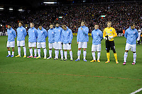 21.02.2013 Liverpool, England. of Zenit St Petersburg line up before the start of the  the Europa League game between Liverpool and Zenit St Petersburg from Anfield.