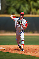 Ball State Cardinals second baseman Seth Freed (1) during practice before a game against the Villanova Wildcats on March 3, 2017 at North Charlotte Regional Park in Port Charlotte, Florida.  Ball State defeated Villanova 3-1.  (Mike Janes/Four Seam Images)