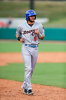Rocket City Trash Pandas shortstop Gavin Cecchini (6) jogs to third base against the Tennessee Smokies at Smokies Stadium on July 2, 2021, in Kodak, Tennessee. (Danny Parker/Four Seam Images)