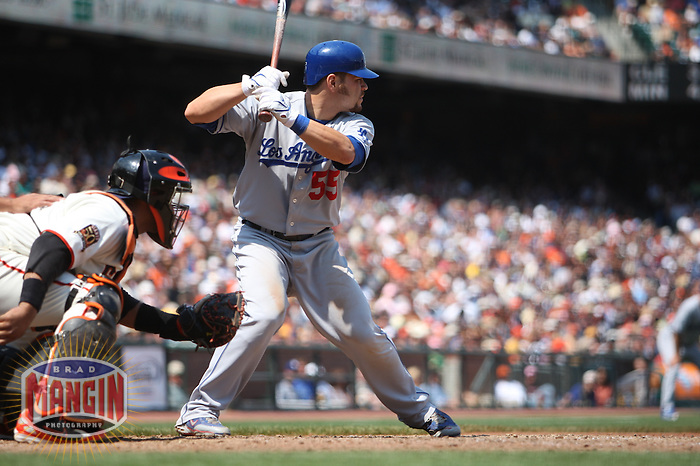 SAN FRANCISCO - JULY 6:  Russell Martin of the Los Angeles Dodgers bats during the game against the San Francisco Giants at AT&T Park in San Francisco, California on July 6, 2008.  The Dodgers defeated the Giants 5-3.  Photo by Brad Mangin