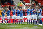 St Johnstone v Celtic...13.12.15  SPFL  McDiarmid Park, Perth<br /> A minutes applause for Willie Coburn , ex saintee who died last week<br /> Picture by Graeme Hart.<br /> Copyright Perthshire Picture Agency<br /> Tel: 01738 623350  Mobile: 07990 594431