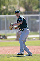 Oakland Athletics third baseman Jacob Lumley (8) during a Minor League Spring Training game against the Chicago Cubs at Sloan Park on March 19, 2018 in Mesa, Arizona. (Zachary Lucy/Four Seam Images)