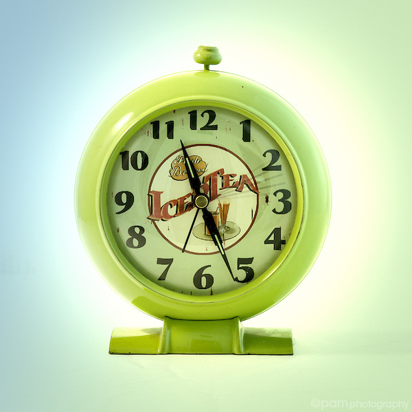 Green ice tea vintage alarm clock