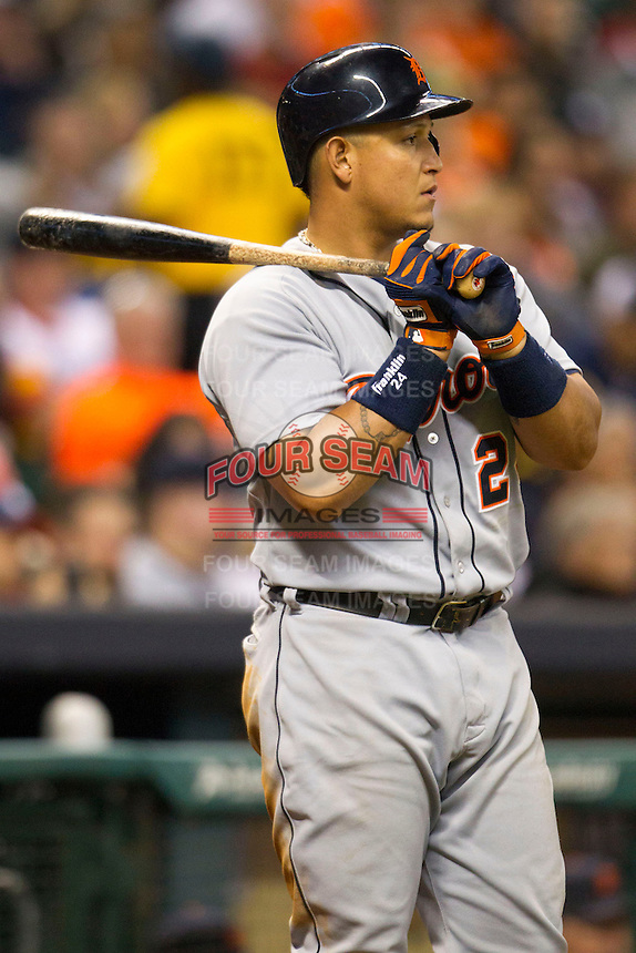 Detroit Tigers third baseman Miguel Cabrera (24) waits on deck during the MLB baseball game against the Houston Astros on May 3, 2013 at Minute Maid Park in Houston, Texas. Detroit defeated Houston 4-3. (Andrew Woolley/Four Seam Images).
