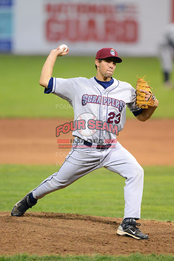 Mahoning Valley Scrappers pitcher Ben Heller #23 during a game against the Batavia Muckdogs on June 22, 2013 at Dwyer Stadium in Batavia, New York.  Batavia defeated Mahoning Valley 2-1 in ten innings.  (Mike Janes/Four Seam Images)