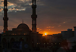 Sunset behind a Mosque in Dubai, United Arab Emirates