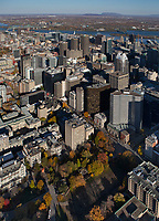 aerial photograph of the Montreal financial district in fall, Quebec, Canada | photographie aérienne du quartier financier de Montréal en automne, Québec, Canada
