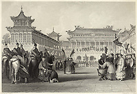 Emperor Tao-Kuang reviews his armed forces in Peking. / Drawing by T. Allom Engraving by J. B. Allen / ca 1840
