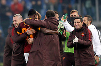 Calcio, Serie A: Roma vs Genoa. Roma, stadio Olimpico, 20 December 2015.<br /> Roma's Umar Sadiq, second from left, celebrates with teammates after scoring during the Italian Serie A football match between Roma and Genoa at Rome's Olympic stadium, 20 December 2015.<br /> UPDATE IMAGES PRESS/Riccardo De Luca