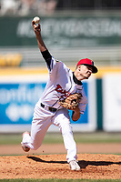 Lansing Lugnuts pitcher Charles Hall (16) delivers a pitch to the plate on May 30, 2021 against the Great Lakes Loons at Jackson Field in Lansing, Michigan. (Andrew Woolley/Four Seam Images)