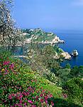 Italy, Sicily, view from Taormina at Isola Bella