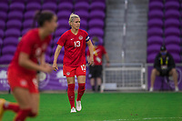 ORLANDO, FL - FEBRUARY 24: Sophie Schmidt #13 of the CANWNT watches the ball during a game between Brazil and Canada at Exploria Stadium on February 24, 2021 in Orlando, Florida.