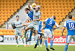 St Johnstone v Hartlepool…22.07.17… McDiarmid Park… Pre-Season Friendly<br />Nicky Deverdics in an aerial battle with Murray Davidson<br />Picture by Graeme Hart.<br />Copyright Perthshire Picture Agency<br />Tel: 01738 623350  Mobile: 07990 594431
