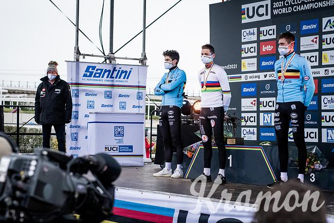 Mathieu Van der Poel (NED/Alpecin-Fenix) winning his 4th Elite World Champion Title<br /> Wout van Aert (BEL/Jumbo-Visma) finishes 2nd & Toon Aerts (BEL/Baloise-Trek Lions) 3rd<br /> <br /> UCI 2021 Cyclocross World Championships - Ostend, Belgium<br /> <br /> Elite Men's Race<br /> <br /> ©kramon