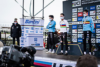 Mathieu Van der Poel (NED/Alpecin-Fenix) winning his 4th Elite World Champion Title<br /> Wout van Aert (BEL/Jumbo-Visma) finishes 2nd & Toon Aerts (BEL/Baloise-Trek Lions) 3rd<br /> <br /> UCI 2021 Cyclocross World Championships - Ostend, Belgium<br /> <br /> Elite Men's Race<br /> <br /> ©kramon