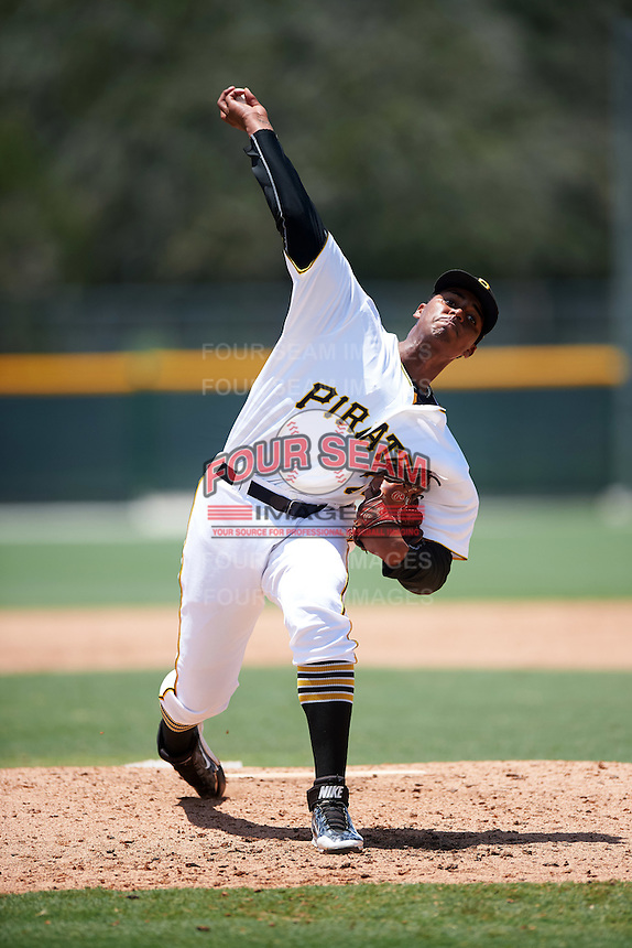 GCL Pirates relief pitcher Alex Martinez (26) during a game against the GCL Braves on August 10, 2016 at Pirate City in Bradenton, Florida.  GCL Braves defeated the GCL Pirates 5-1.  (Mike Janes/Four Seam Images)